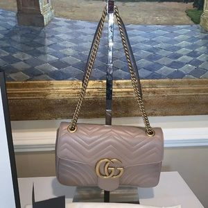 Authentic Dusty Pink Gucci GG Marmont Medium Bag